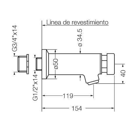 Griferia Fv 360.01 Pressmatic Canilla Servicio Pared