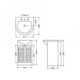 Conjunto Vanitory Completo Ferrum Avignon 50 Cm Madera 3 Ag
