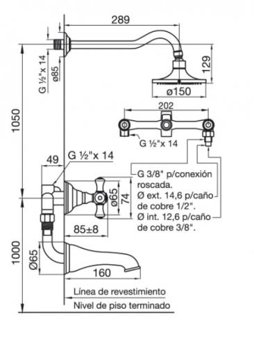 Griferia Baño Fv Bañera C/Transf. Veracruz 103/47 Cromo