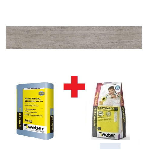 Combo 6,72M2 Porcelanato Ilva Tribec Wood + Pegamento + Pastina