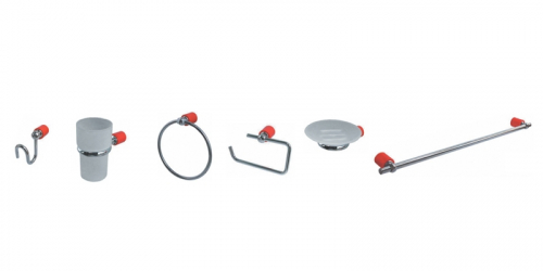 Accesorios De Baño 6 Pzas Hidromet New Age Rojo