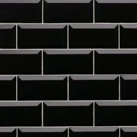 Revestimiento Arren Azulejo 7,5X15 Liso Negro Bte